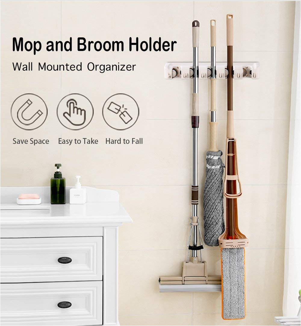 amazon com imillet mop and broom holder wall mounted organizer mop and broom storage tool rack with 5 ball slots and 6 hooks gray double pack home