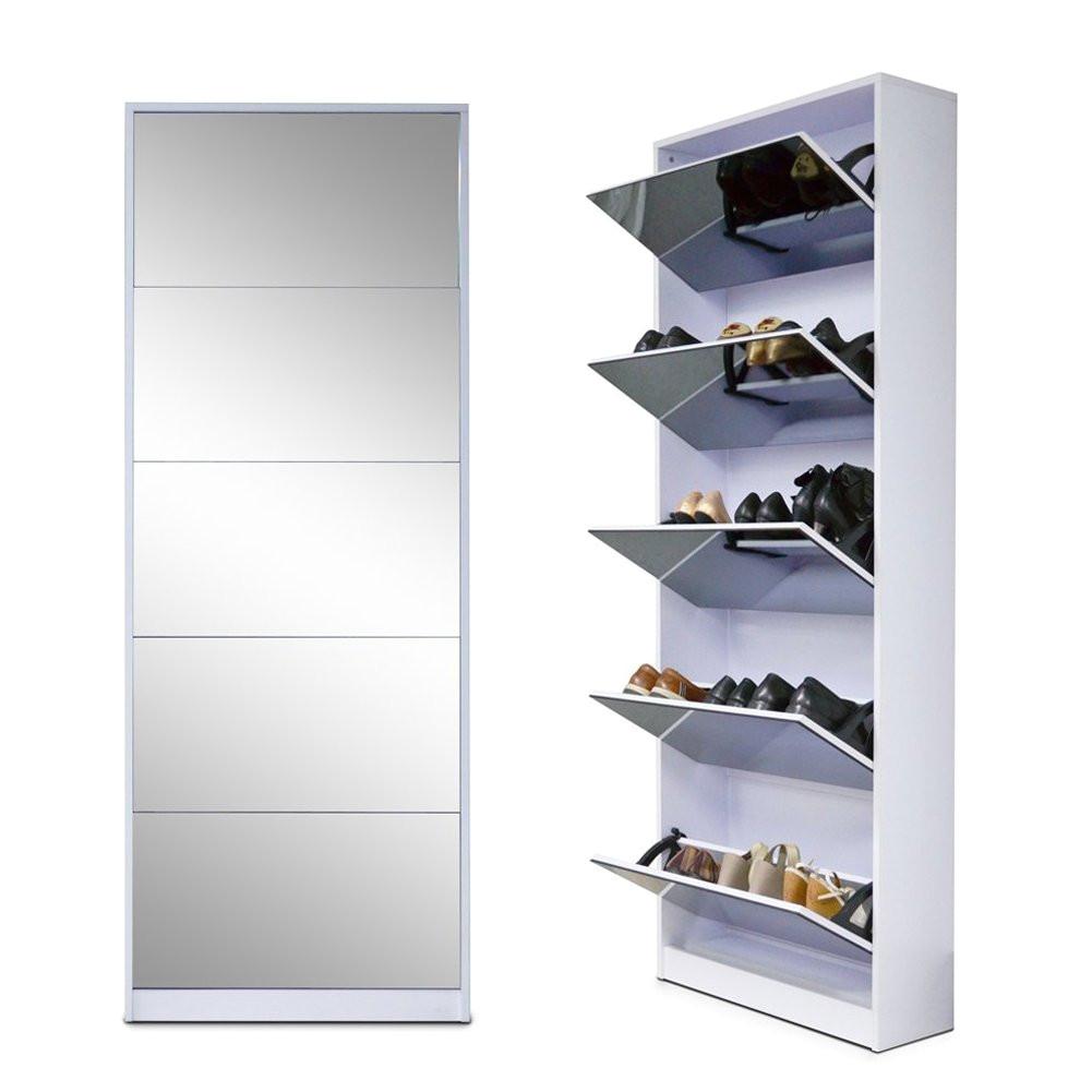 amazon com organizedlife white wooden shoe cabinet mirror shoe organizer with with 5 racks home kitchen