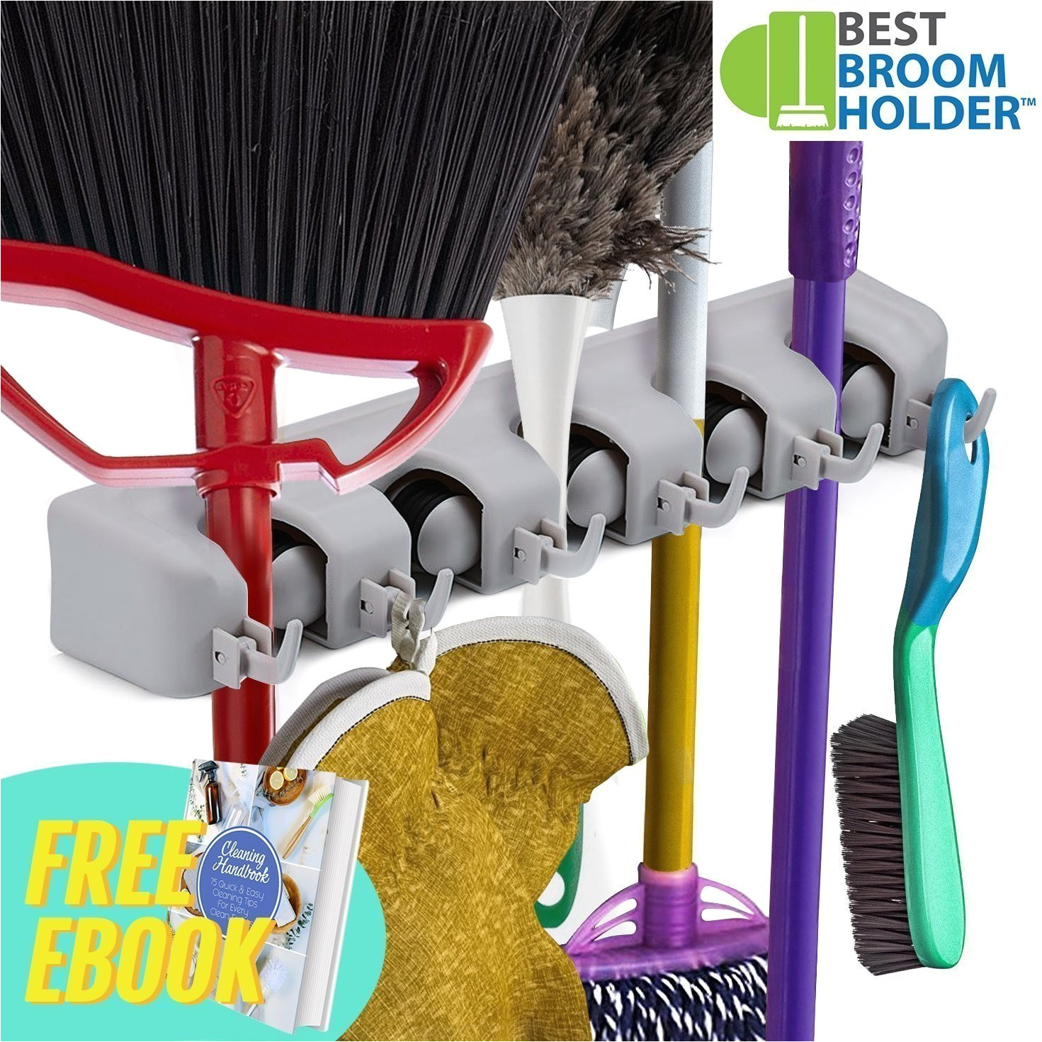 best broom holder xstrong1 mop and broom wall mounted hanger storage organizer neat nifty amazon in home improvement