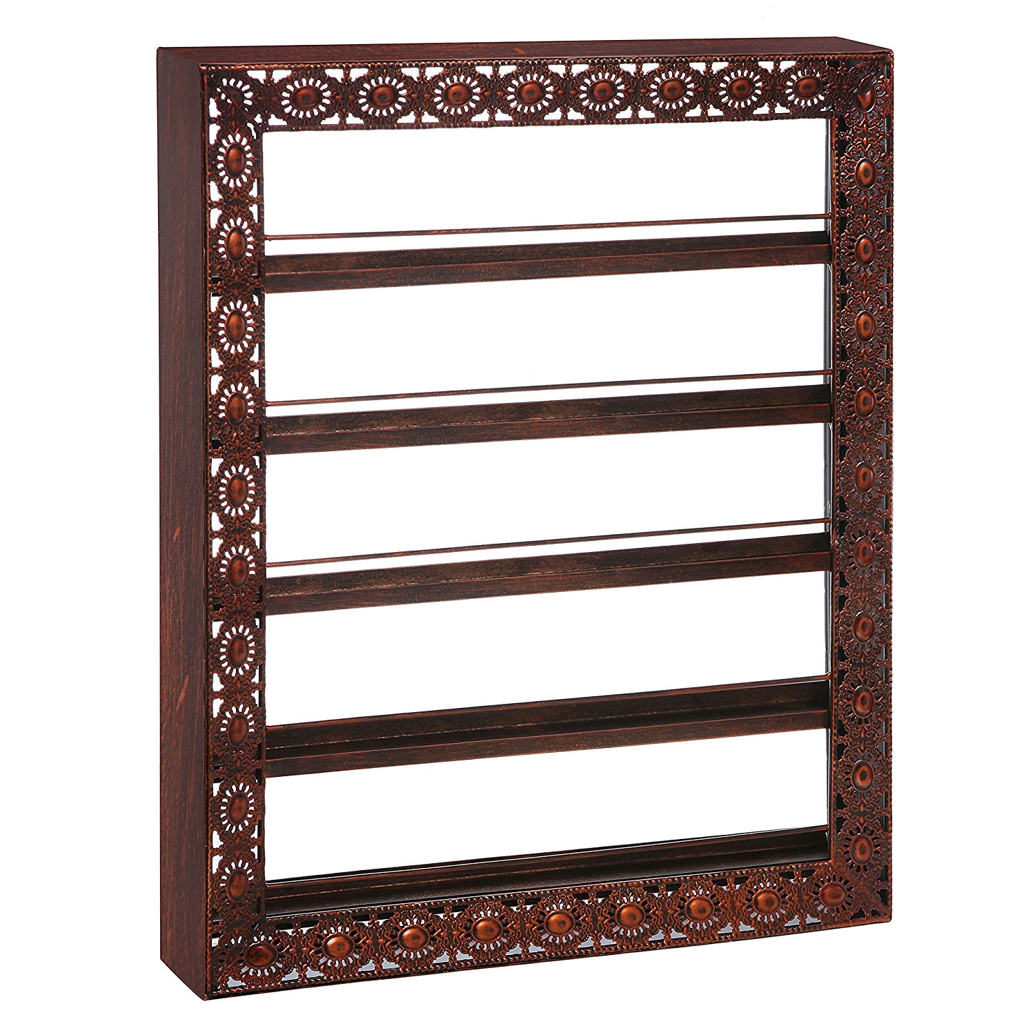 amazon com mygift salon vintage wall mounted 5 tier metal nail polish cosmetic organizer display rack bronze home kitchen