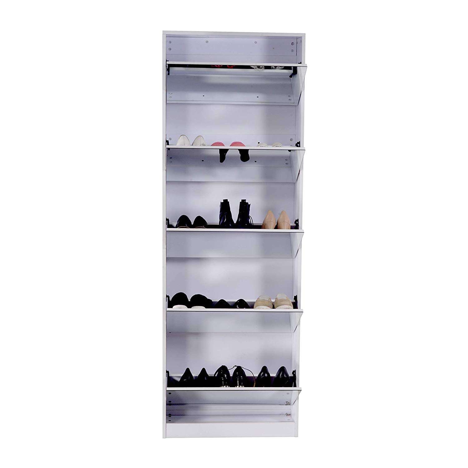 amazon com organizedlife white wooden shoe cabinet mirror shoe organizer with with 5 racks home kitchen
