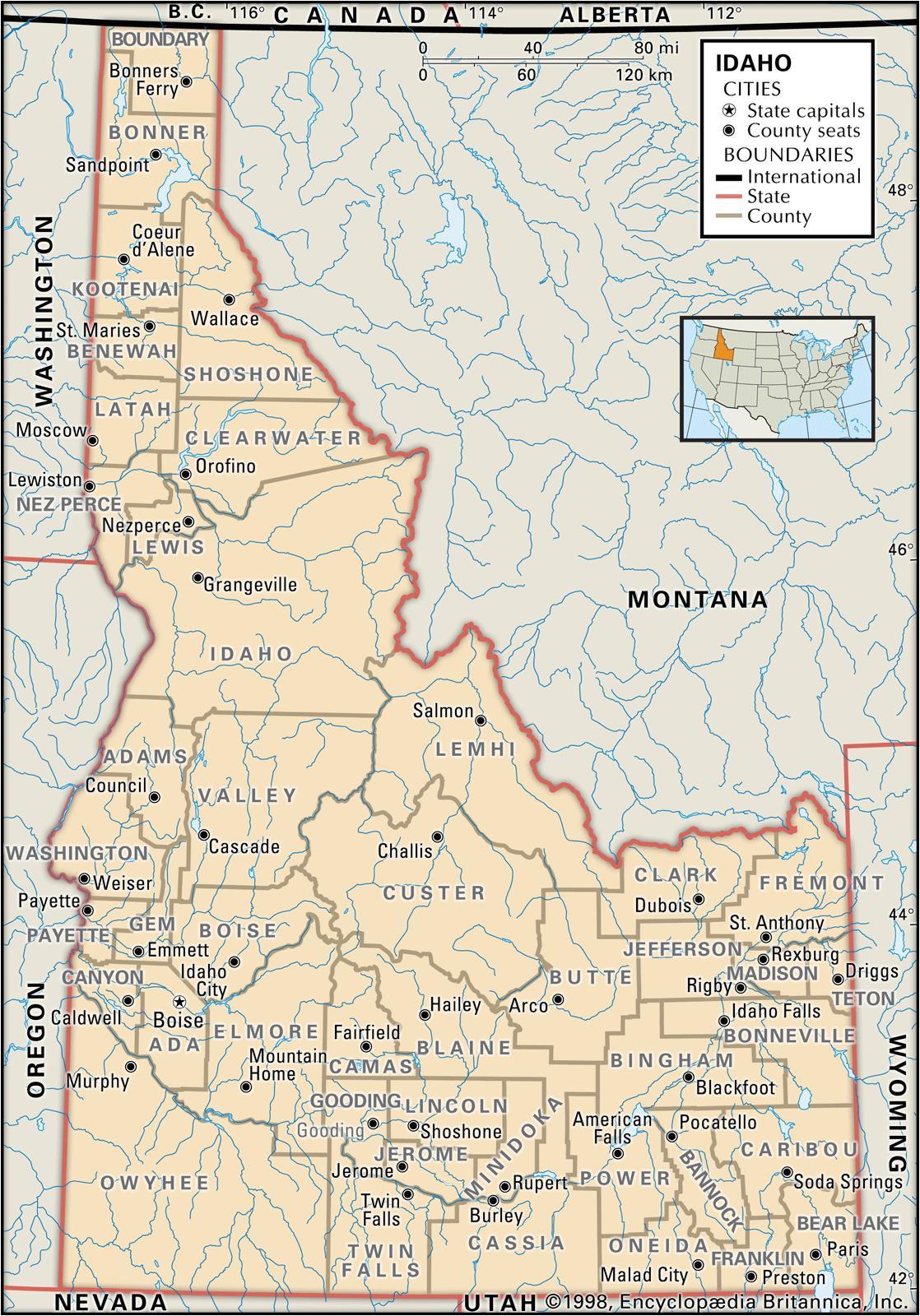 county map of idaho