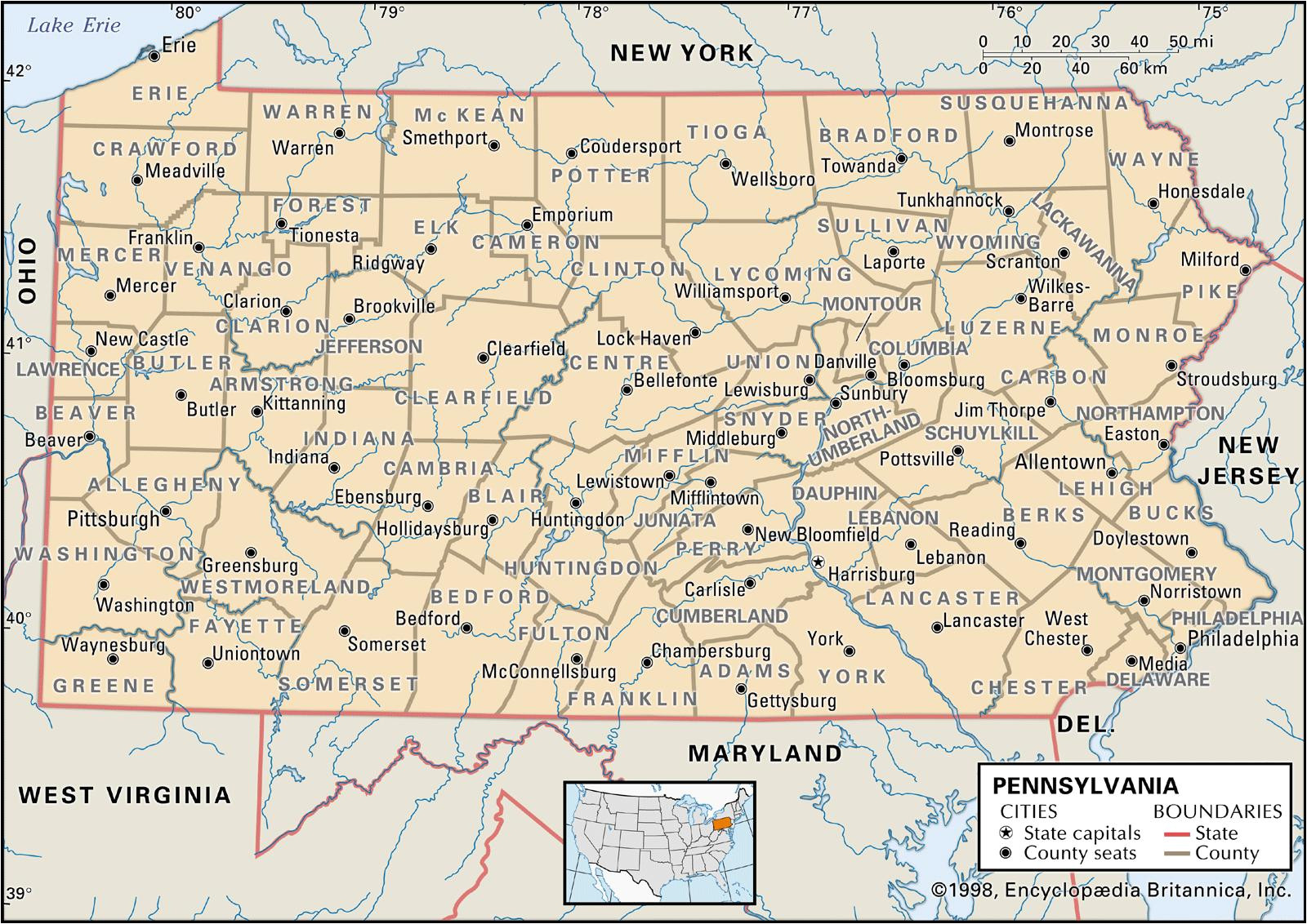 map of pennsylvania counties