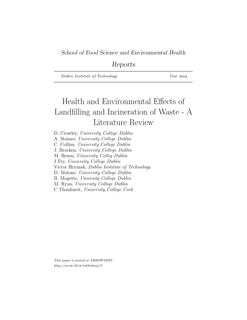 pdf health and environmental effects of landfilling and incineration of waste a literature review