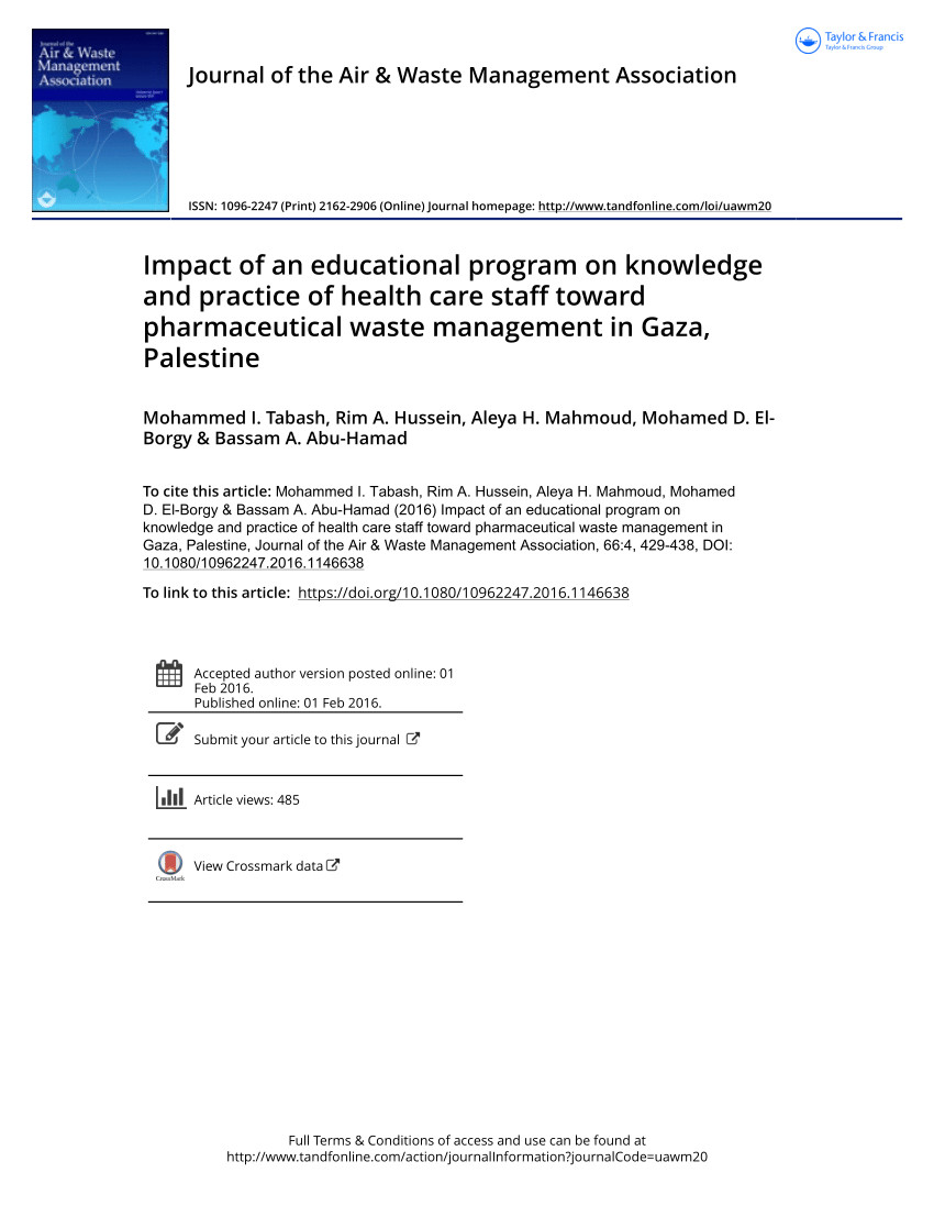 pdf knowledge attitude and practices of health staff regarding infectious waste handling of tertiary care health facilities at metropolitan city of