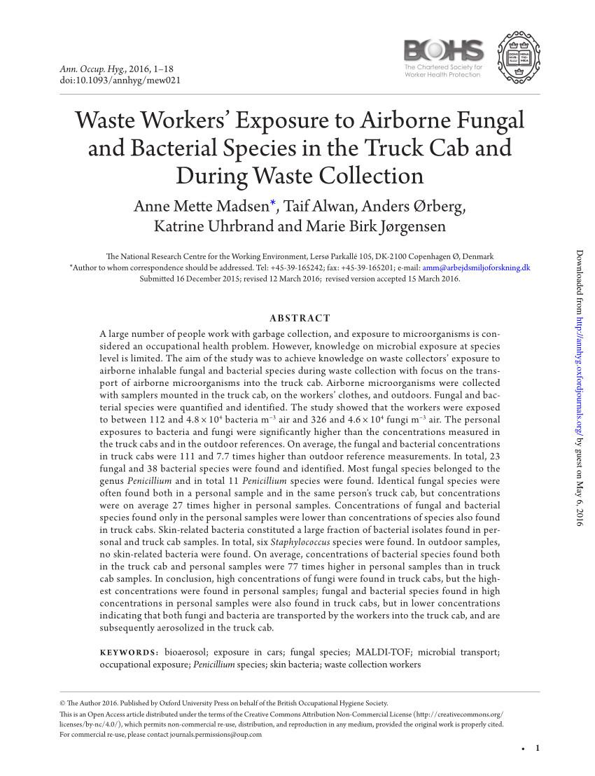 pdf bioaerosols noise and ultraviolet radiation exposures for municipal solid waste handlers