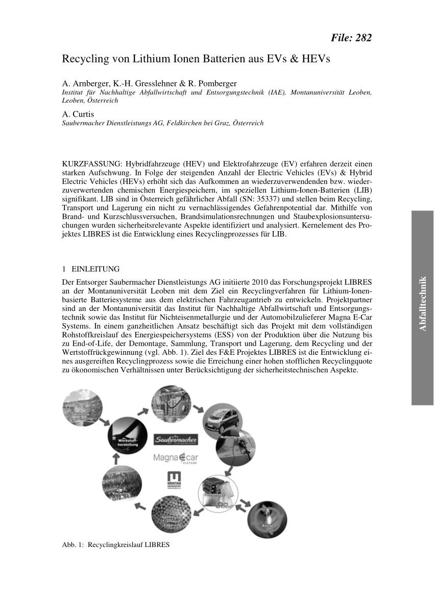 pdf recycling von lithium ionen batterien aus evs hevs