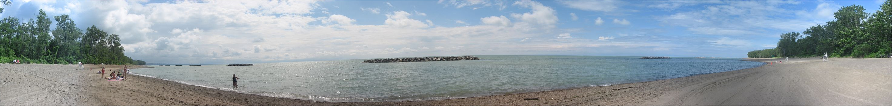 panoramic view of lake erie from beach 7 waterworks beach in presque isle state park in erie county pennsylvania