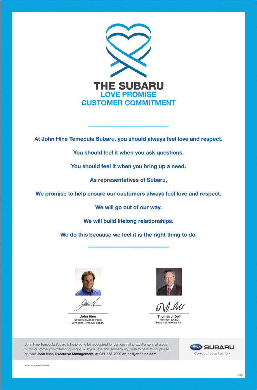 the subaru love promise customer commitment