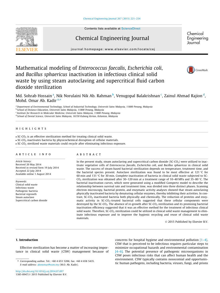 pdf treatment of clinical solid waste using a steam autoclave as a possible alternative technology to incineration