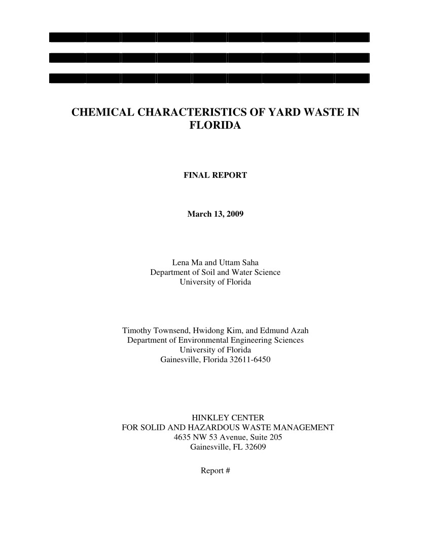 Waste Management Ocala Fl Pdf Chemical Characteristics Of Yard Waste In Florida