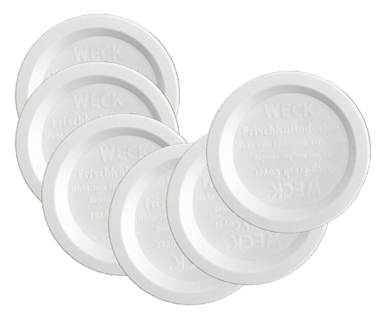 amazon com weck jar keep fresh plastic lids 6 pack large 100mm fits models 740 741 742 743 738 739 744 745 748 974 kitchen dining