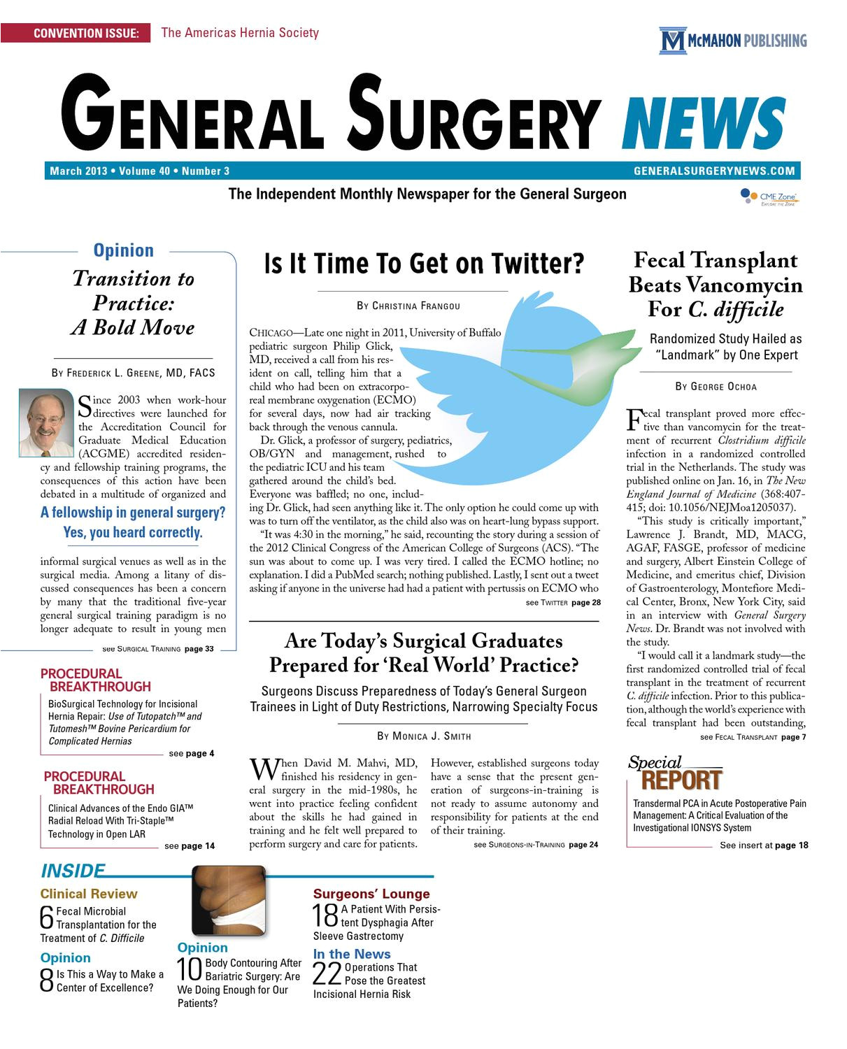 the march 2013 digital edition of general surgery news by mcmahon group issuu