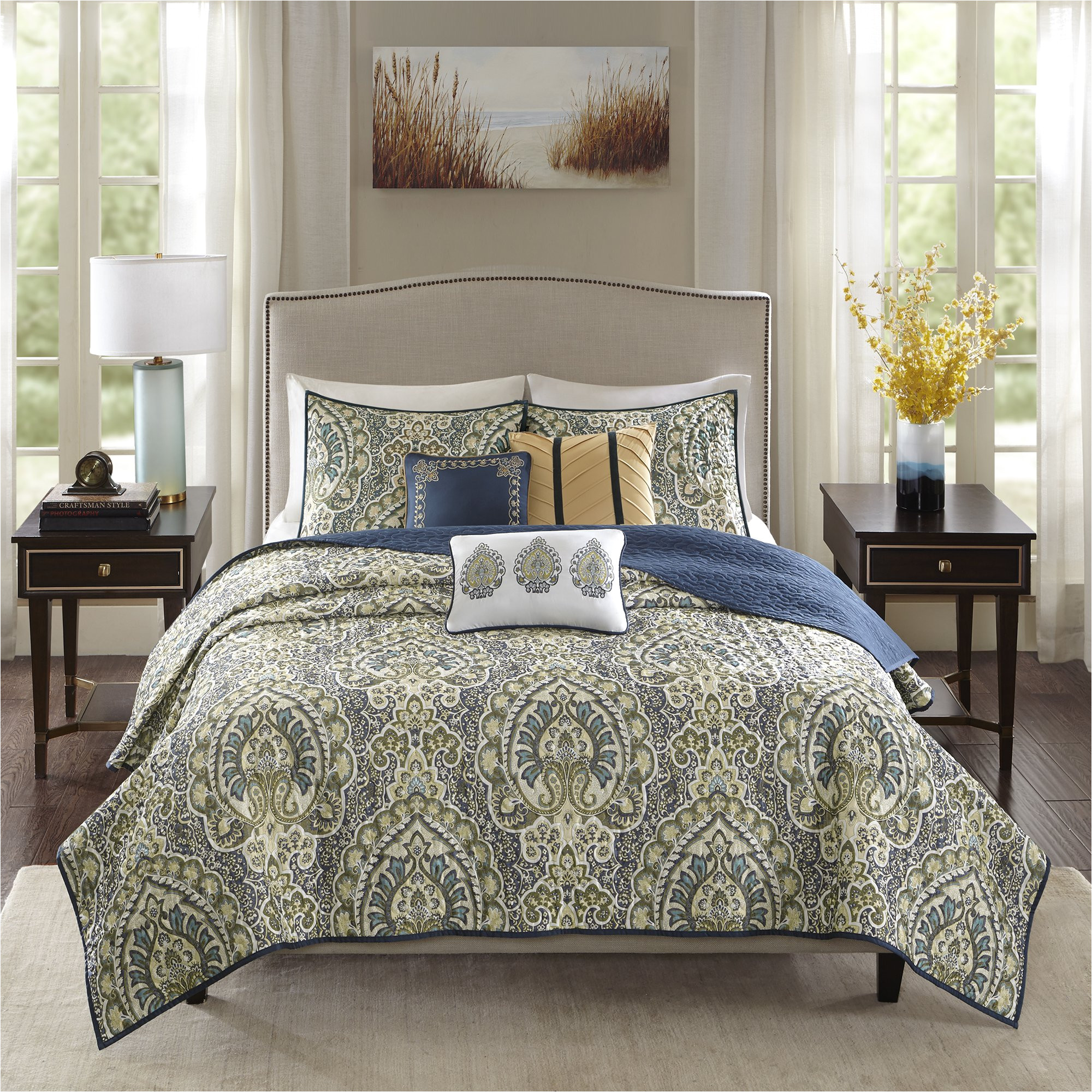 shop madison park madison teal charmeuse printed 6 piece coverlet set free shipping today overstock com 17678056