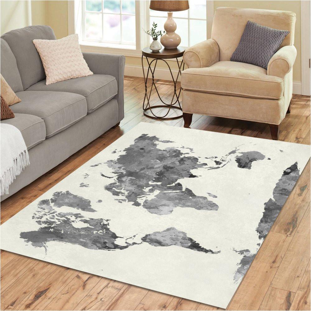 amazon com interestprint grey world map area rug floor mat 7 x 5 feet watercolor map of the world art throw rayon fiber carpet rugs for home living