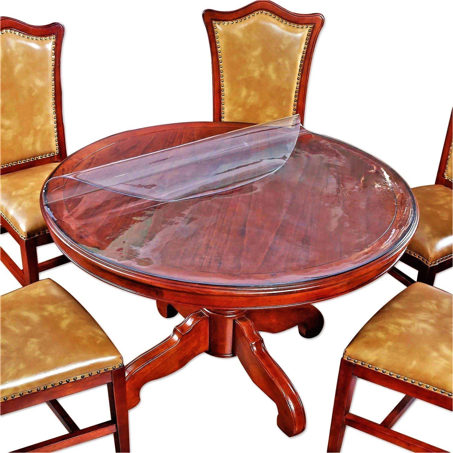 amazon com round table protector furniture clear plastic protector circle tablecloth cloths cover pvc vinyl waterproof wipeable heat resistant pad mats rug