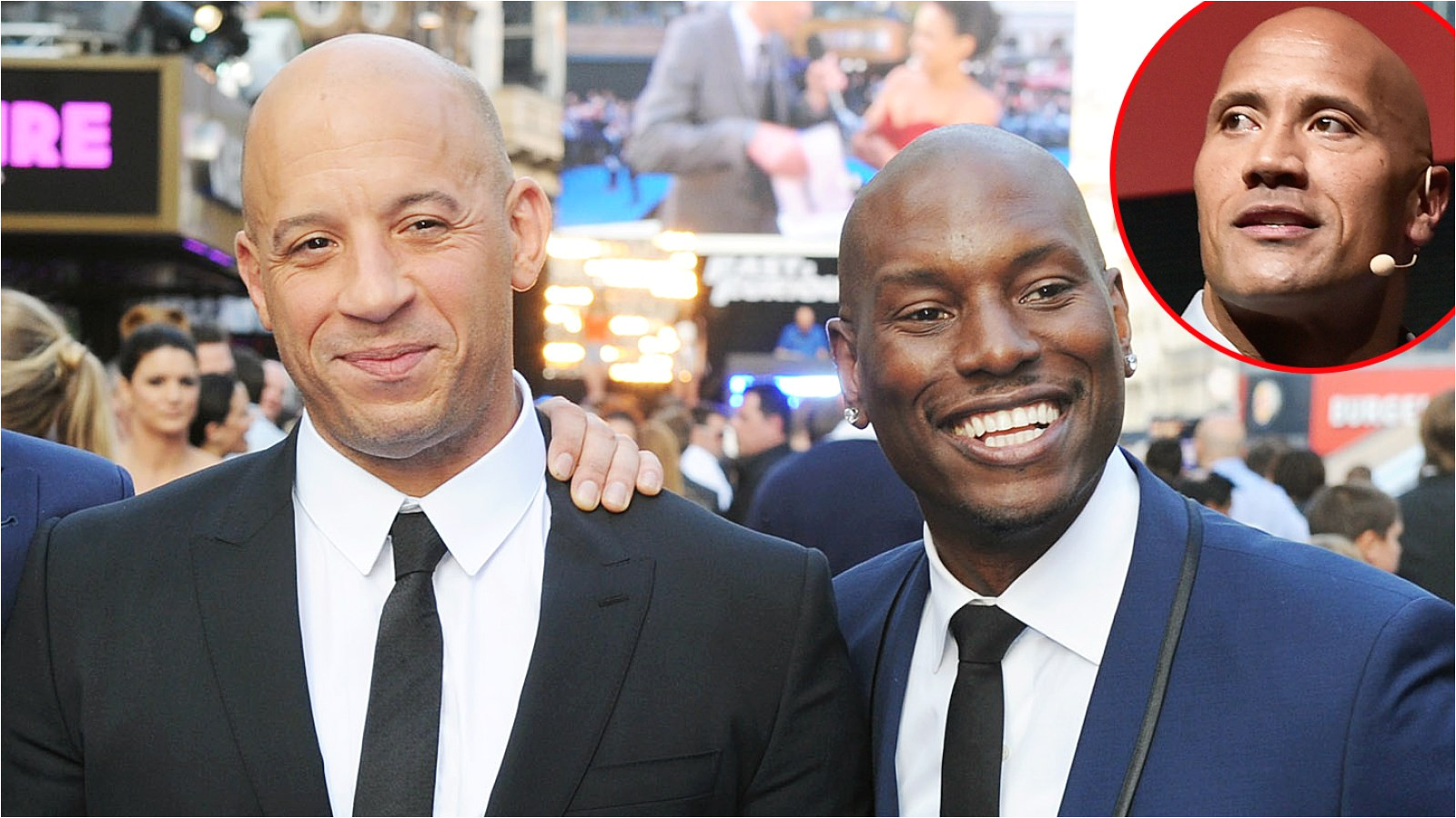 is vin diesel siding with tyrese in the rock drama pic
