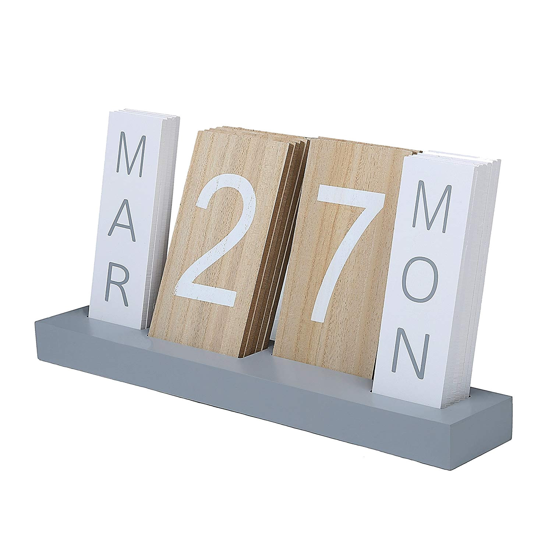amazon com wood block perpetual month date day tile calendar desktop accessories home kitchen