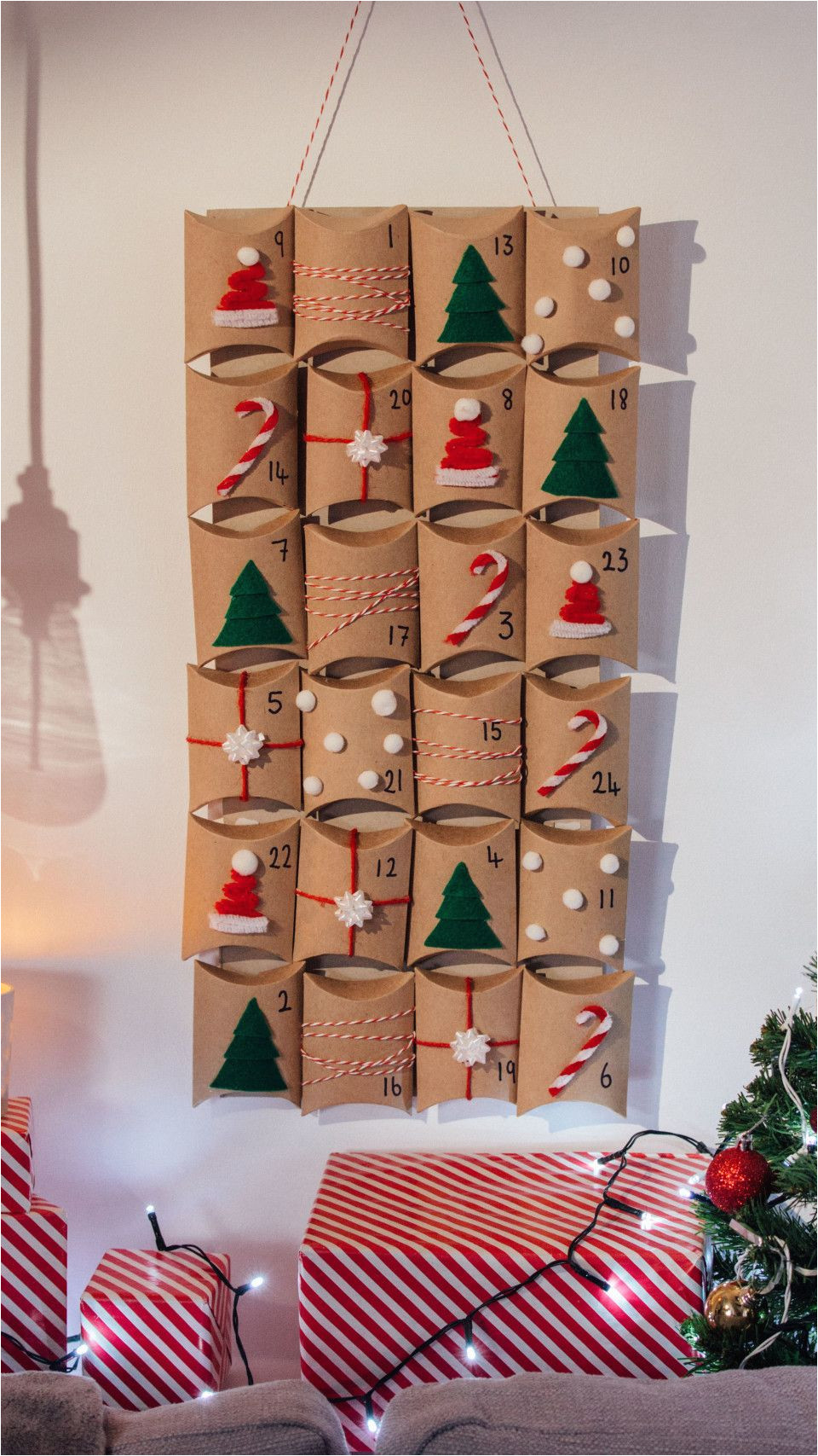 recipe with video instructions count down to the big day with this home made advent calendar ingredients cereal box 24 pillow boxes velcro red