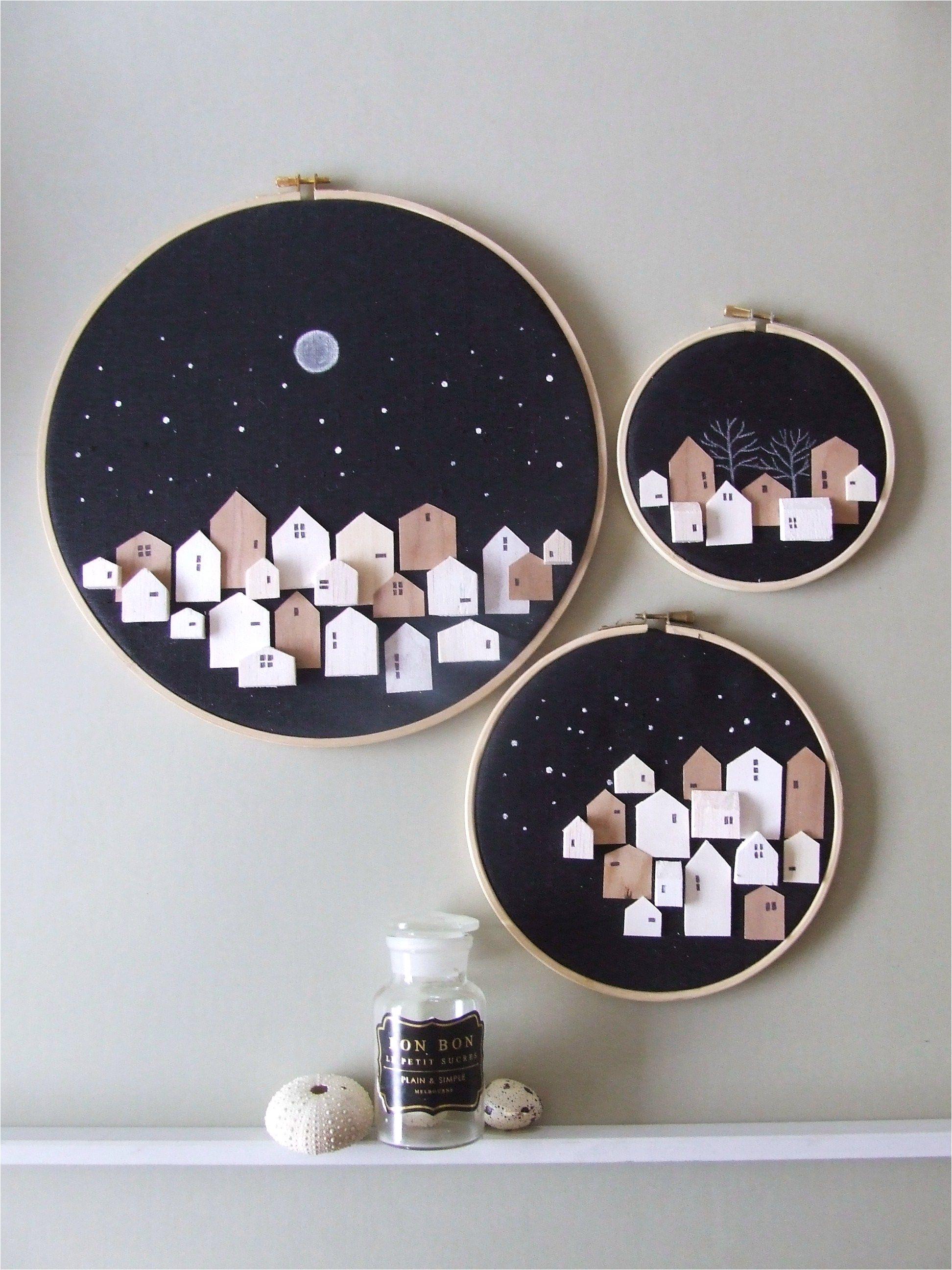 advent calendar made of stars set of 3 tiny wooden houses on hoop neutral wall art decor