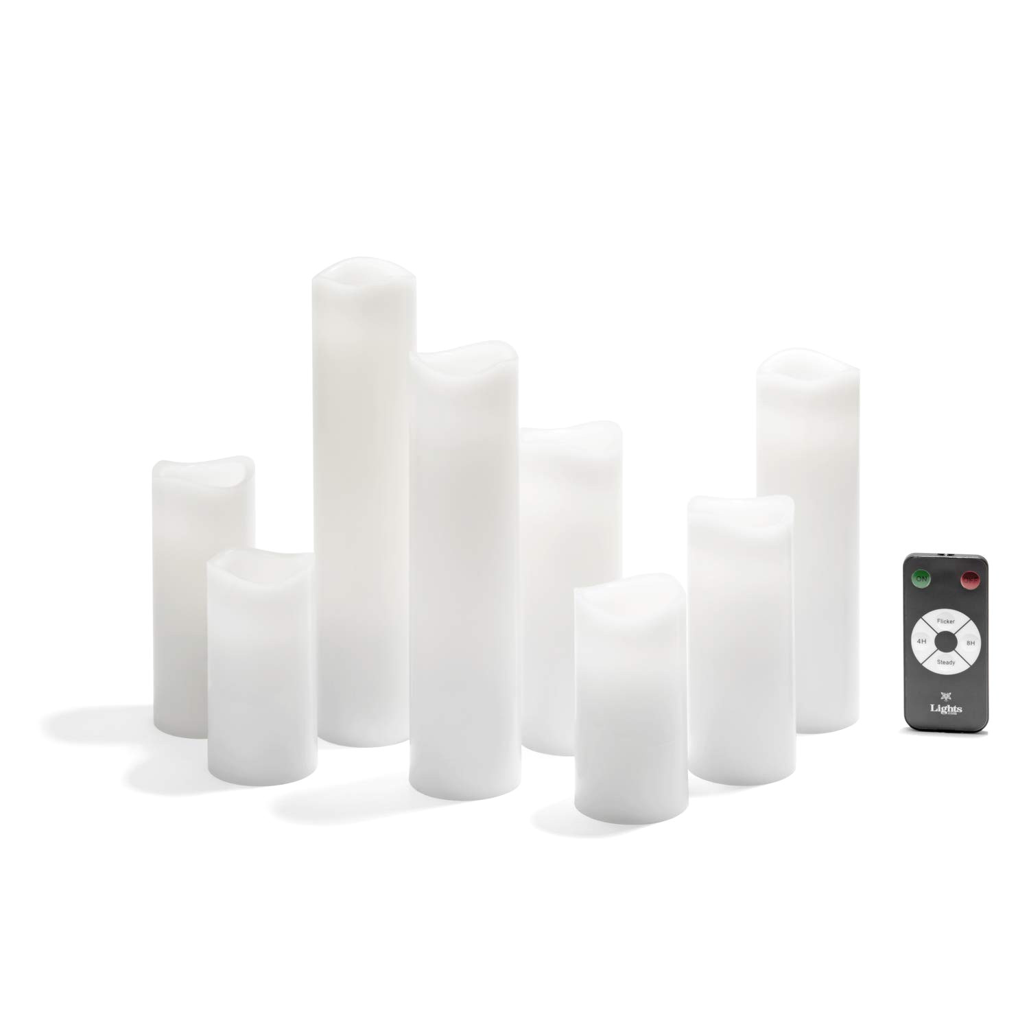 amazon com 8 ivory slim flameless candles with warm white leds smooth finish assorted sizes remote and batteries included home improvement