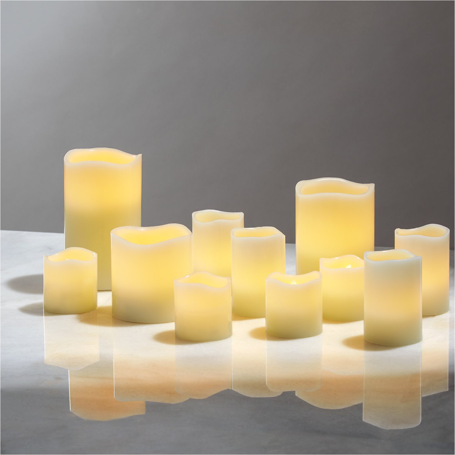 amazon com flameless pillar and votive candle set real wax flickering led candles assorted sizes batteries included pack of 11 home improvement
