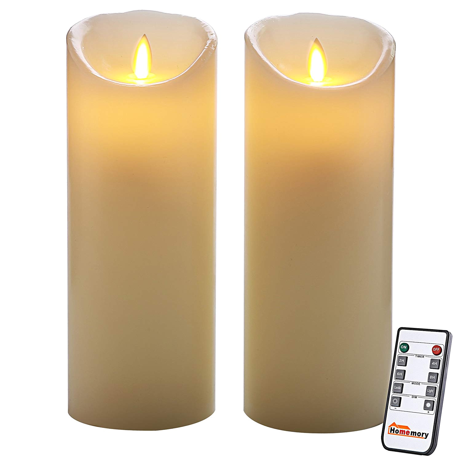 amazon com homemory 9 inch flameless timer candle with remote pack of 2 realistic led flickering votive candle power by battery electric pillar candle