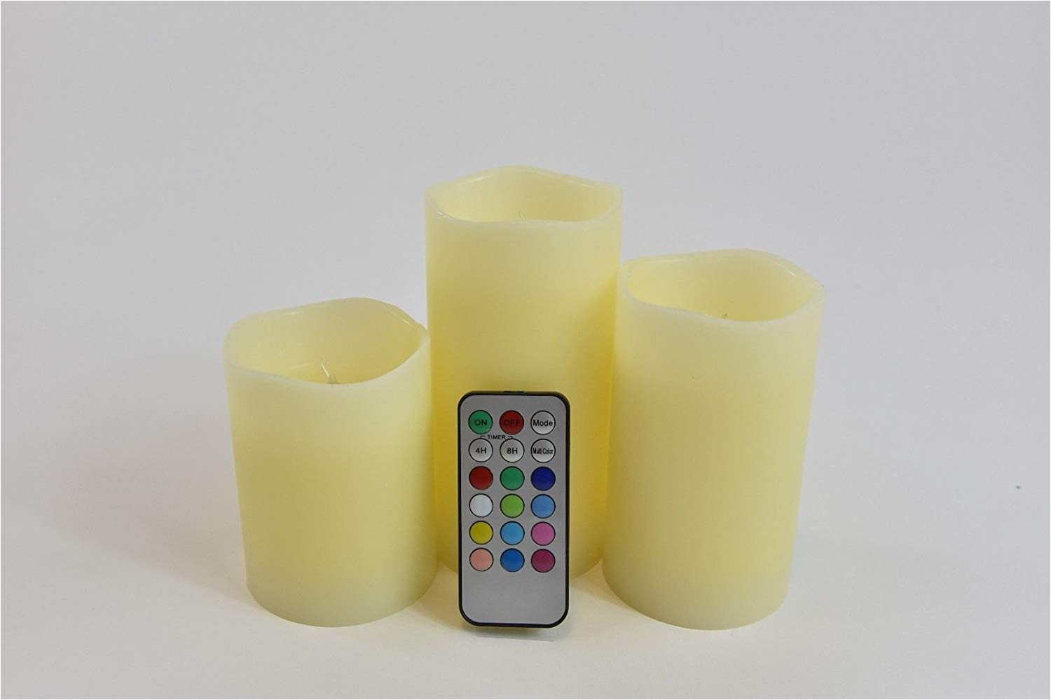 get quotations a benshop15 set 3 flameless multi colored light flame color ivory pillar candles with remote decor