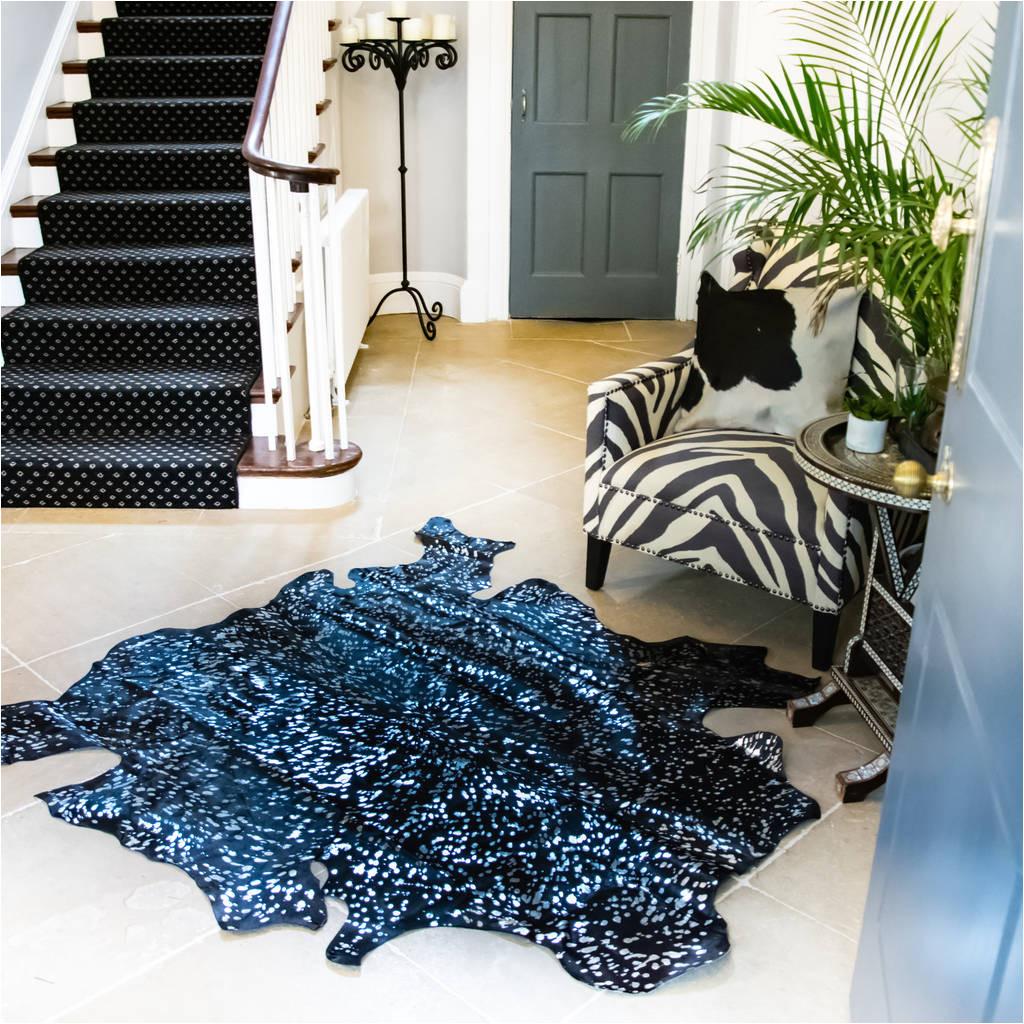 black and silver metallic natural cowhide rug
