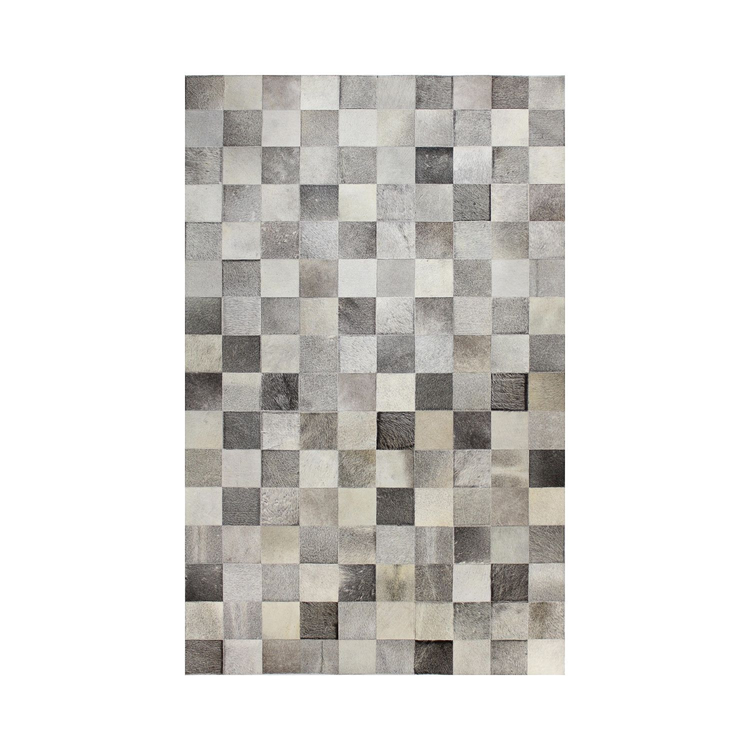 griffin grey 5 x 8 cowhide treat your senses to the touch of supple genuine cowhide this hand stitched square patch rug in grey combines quality