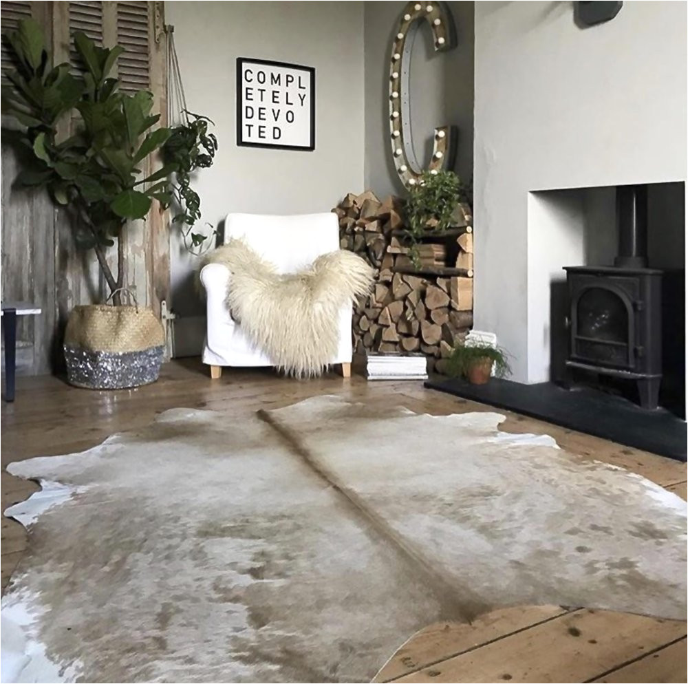 beautiful beige cowhide rug from nordic hides and skins as seen in the beautiful