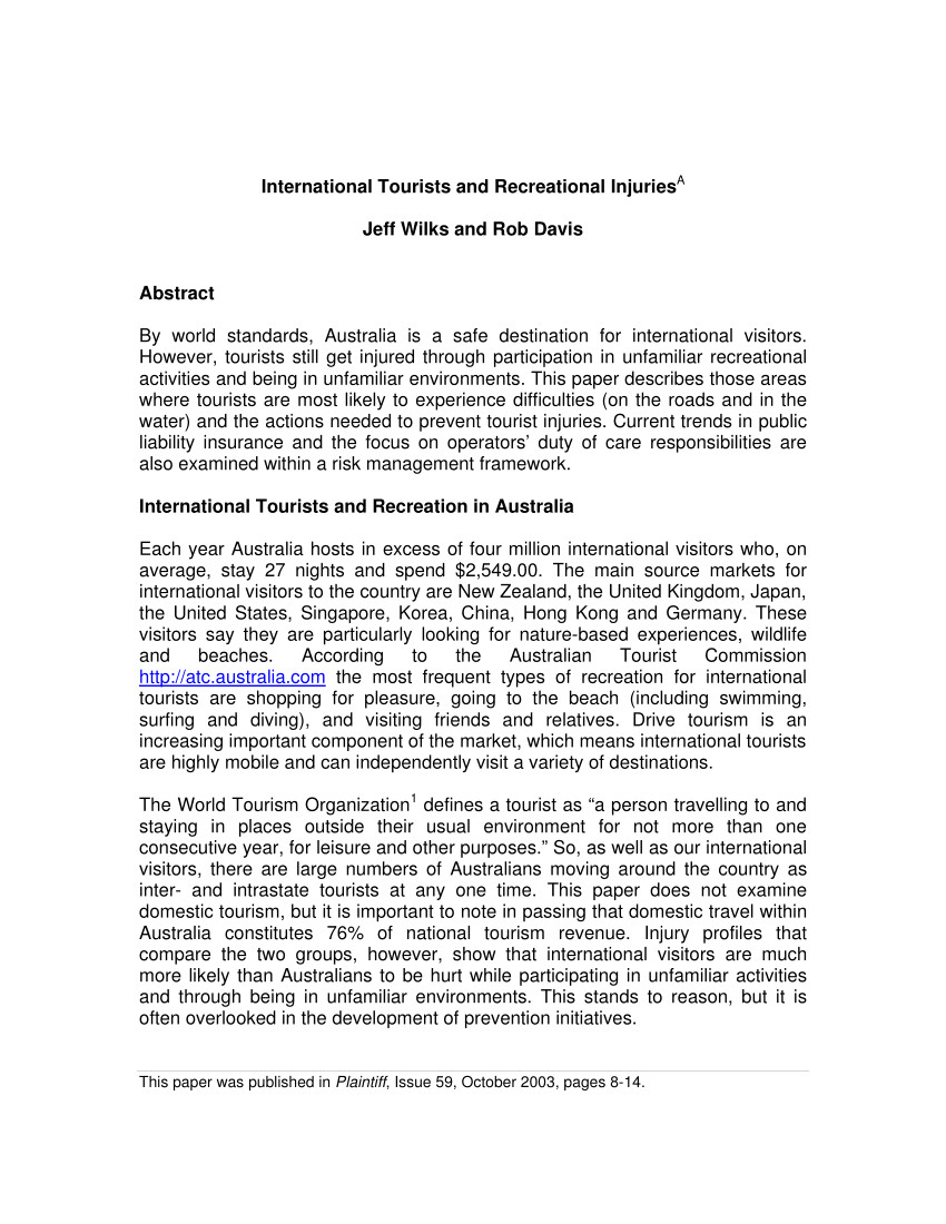 pdf international tourists and recreational injuries
