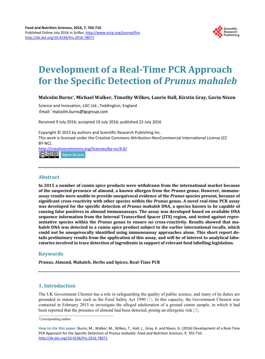 pdf novel approach to the rapid differentiation of common prunus allergen species by pcr product melt analysis