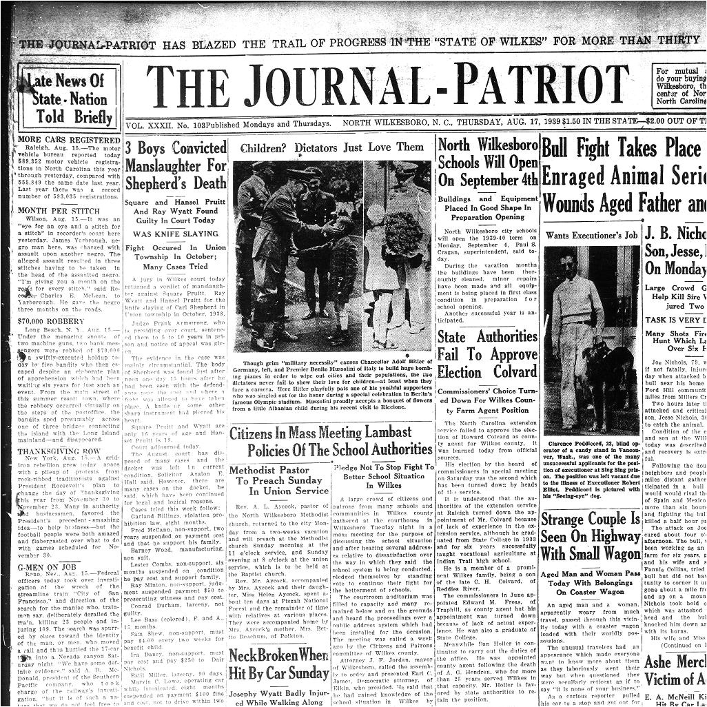 the journal patriot north wilkesboro n c 1932 current august 17 1939 image 1 a north carolina newspapers