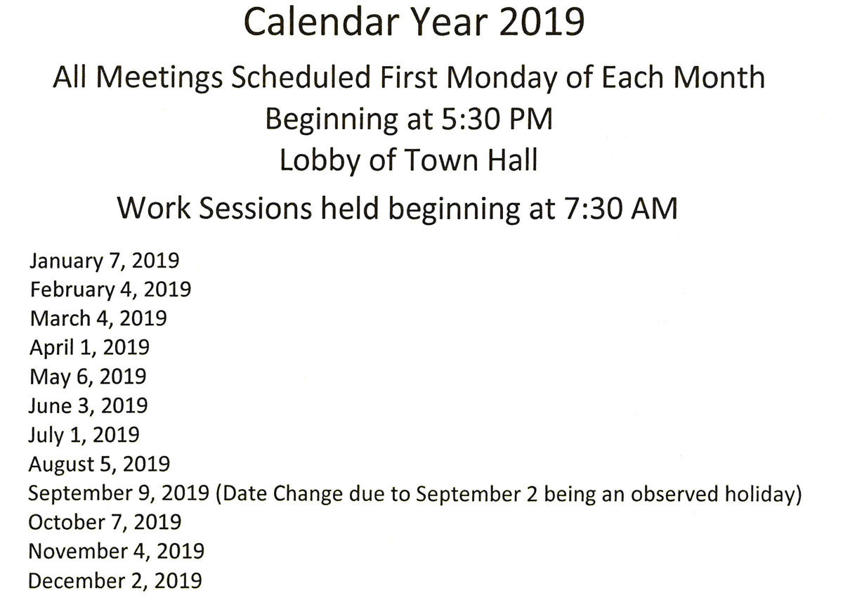 2019 town council meeting schedule