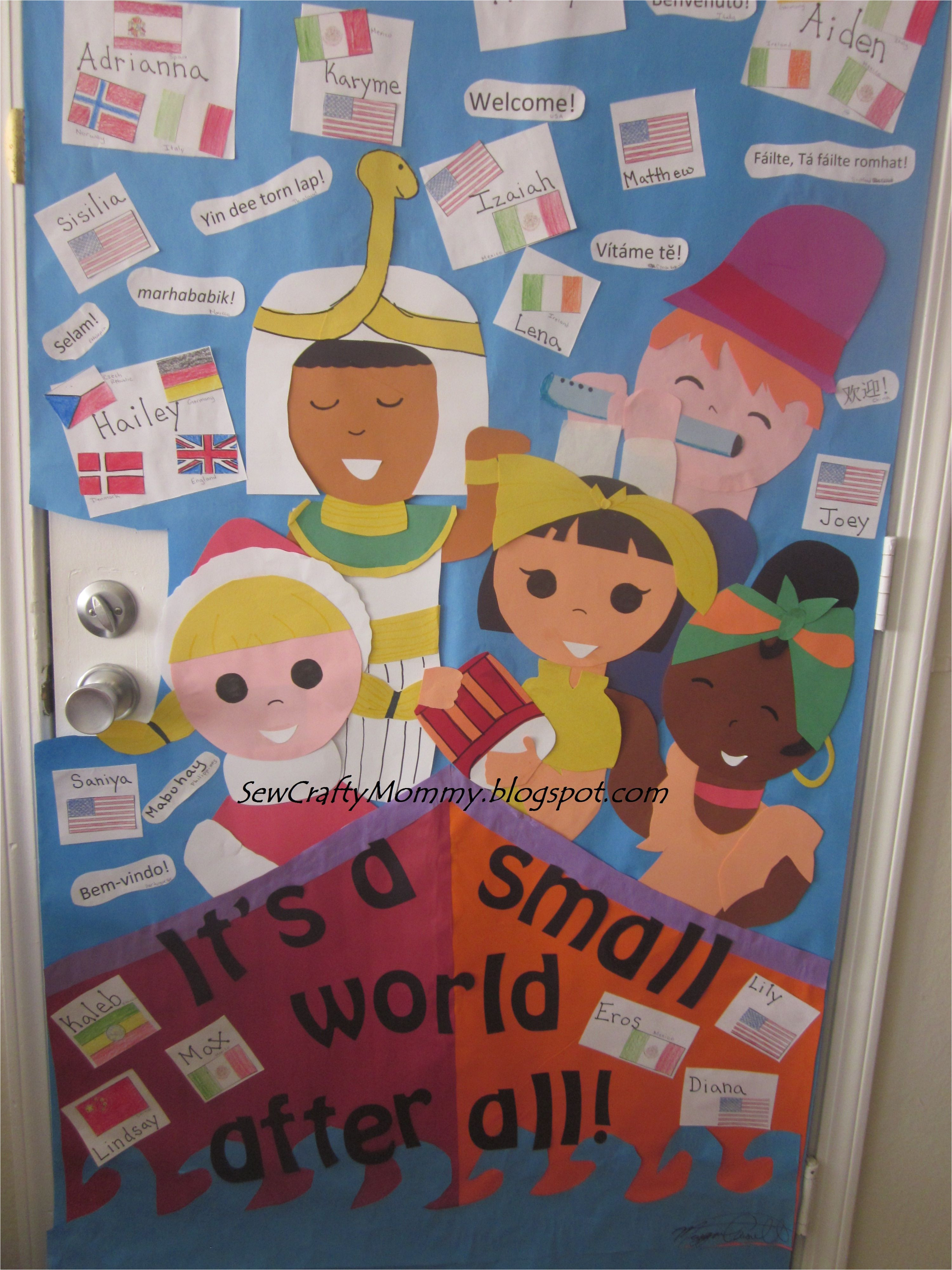 multicultural week for school door decoration it s a small world spin off