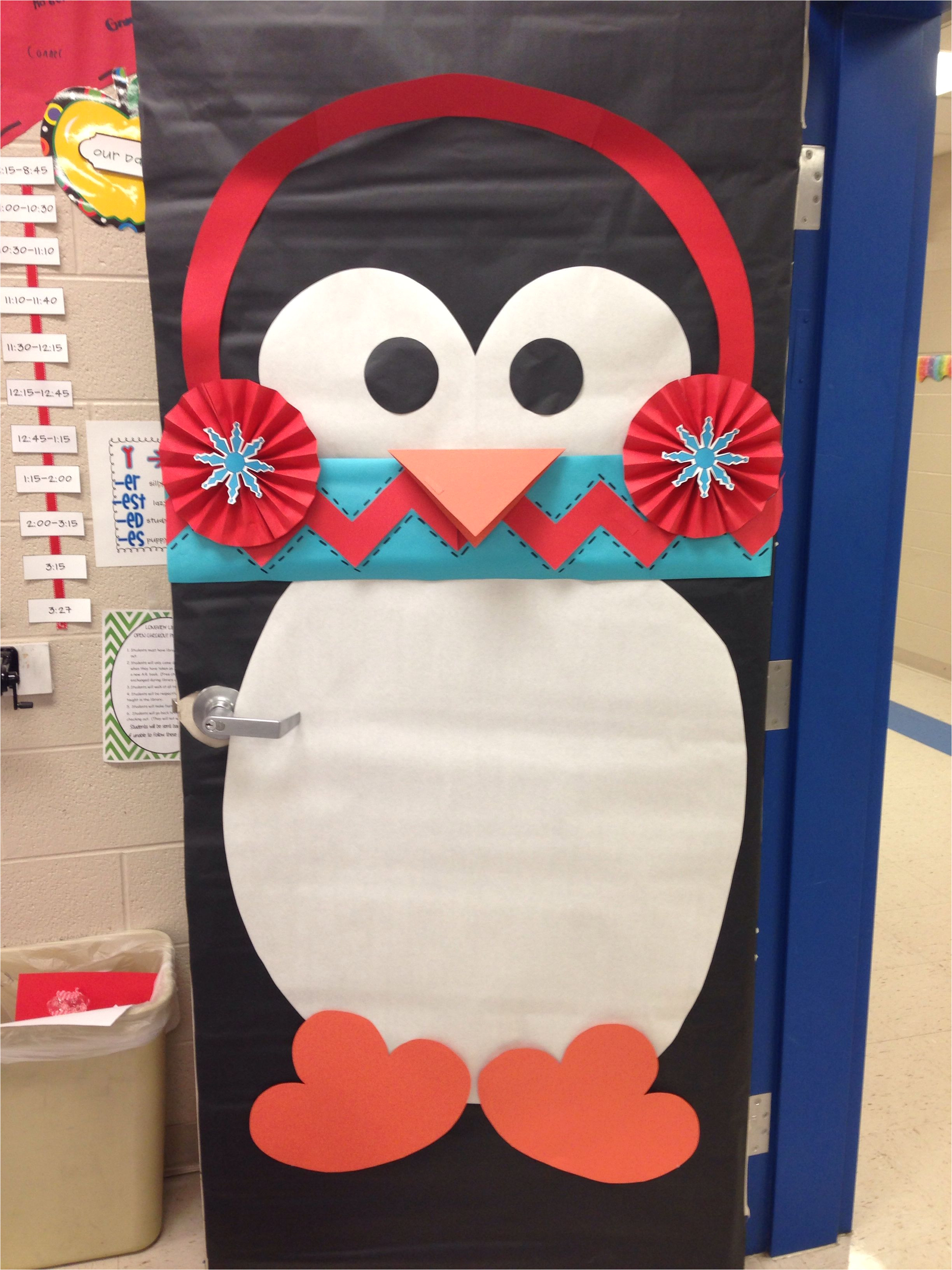 winter classroom door who doesn t love a penguin with a chevron scarf