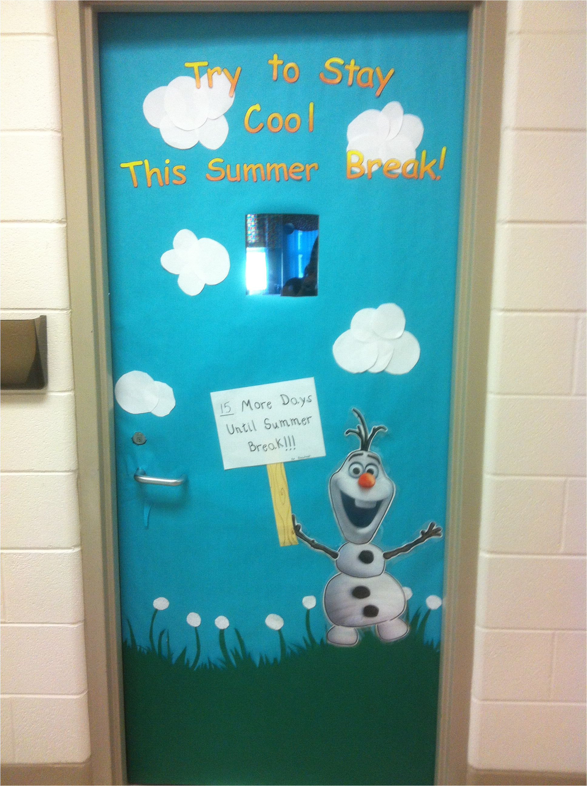 frozen olaf bulletin board door count down to summer break i have to say i am a little proud of my door