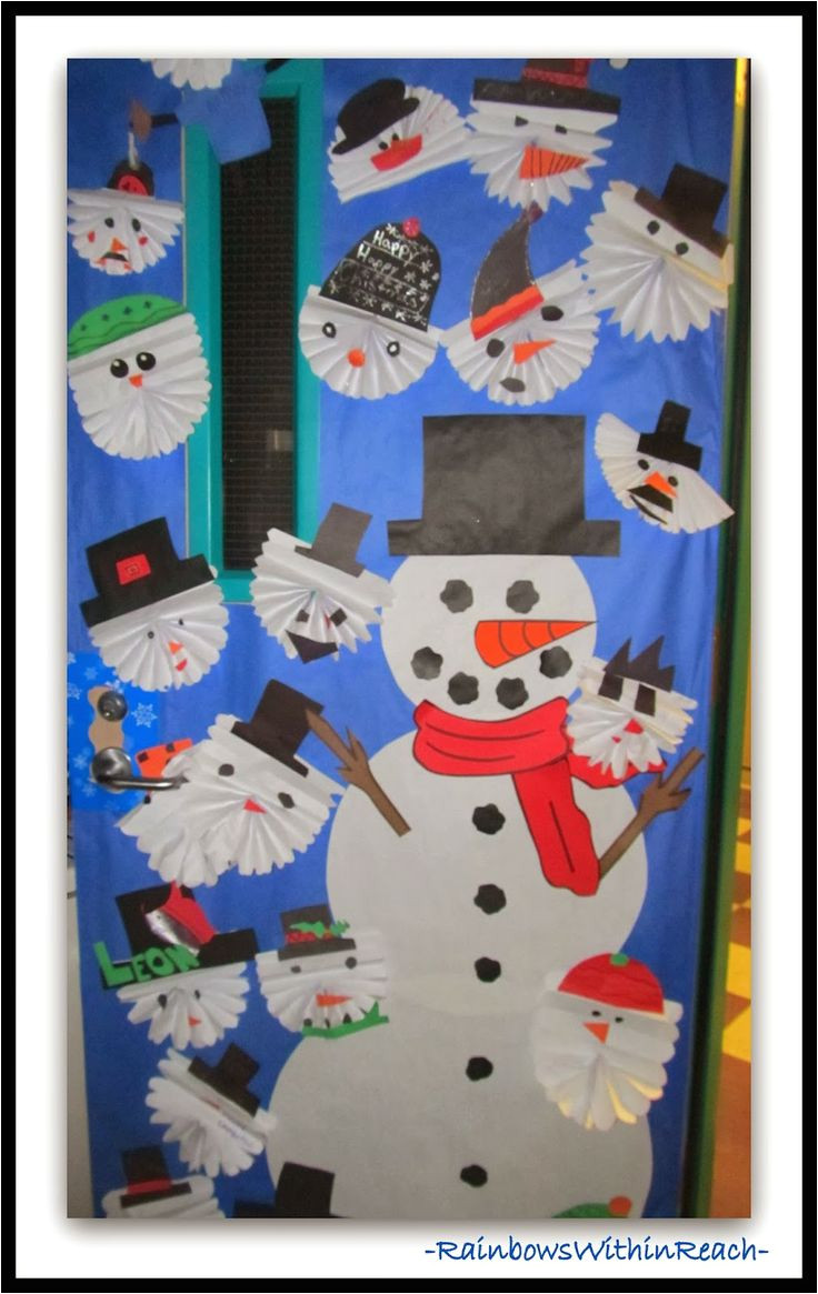 winter themed decorated classroom doors
