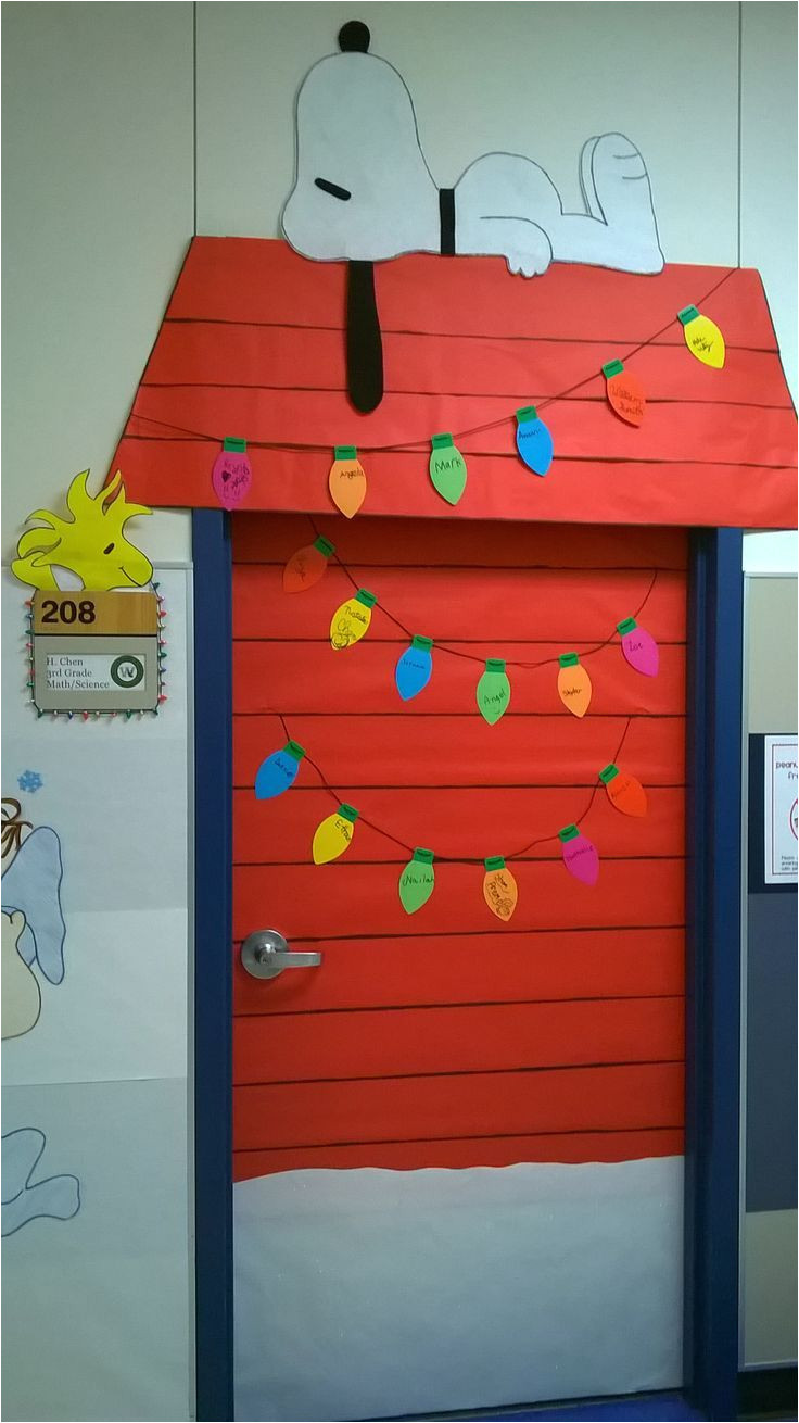 charlie brown christmas classroom door decoration love that snoopy and little woodstock