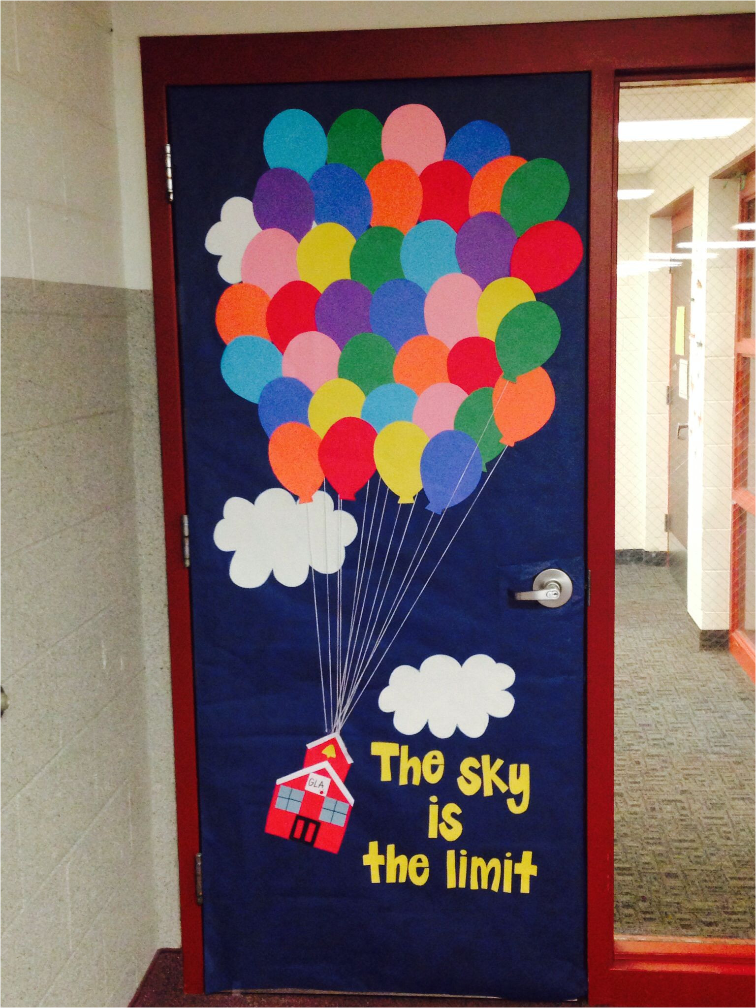 classroom door decor inspired by the movie up instead of a house i made a school house the sky is the limit