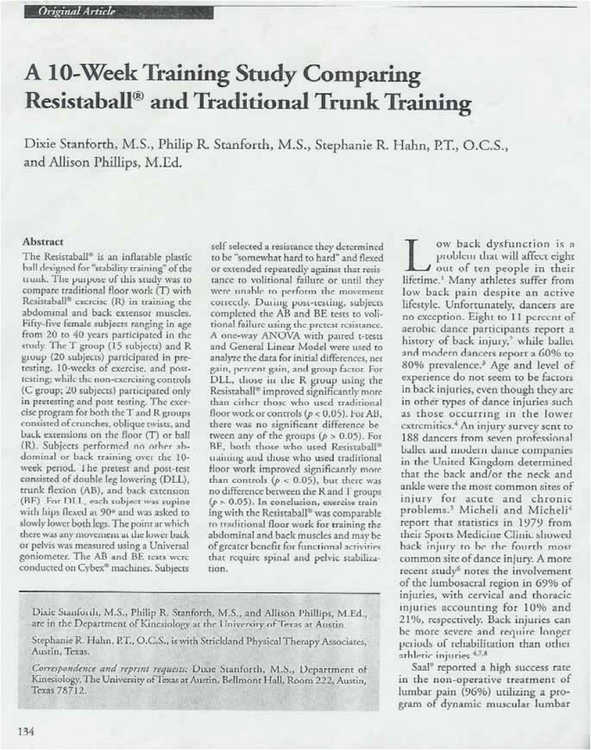 pdf the effects of stability ball training on spinal stability in sedentary individuals