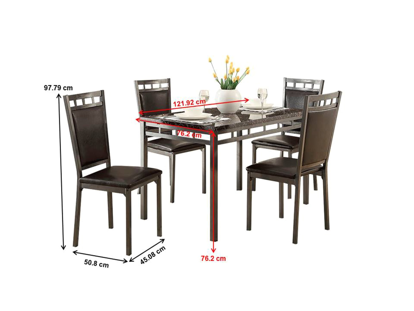 amazon com homelegance 5 piece olney dinette set with faux marble top brown gray table chair sets