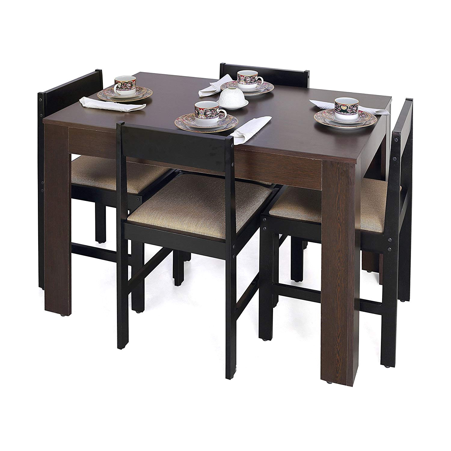 forzza peter four seater rectangular dining table set wenge amazon in home kitchen