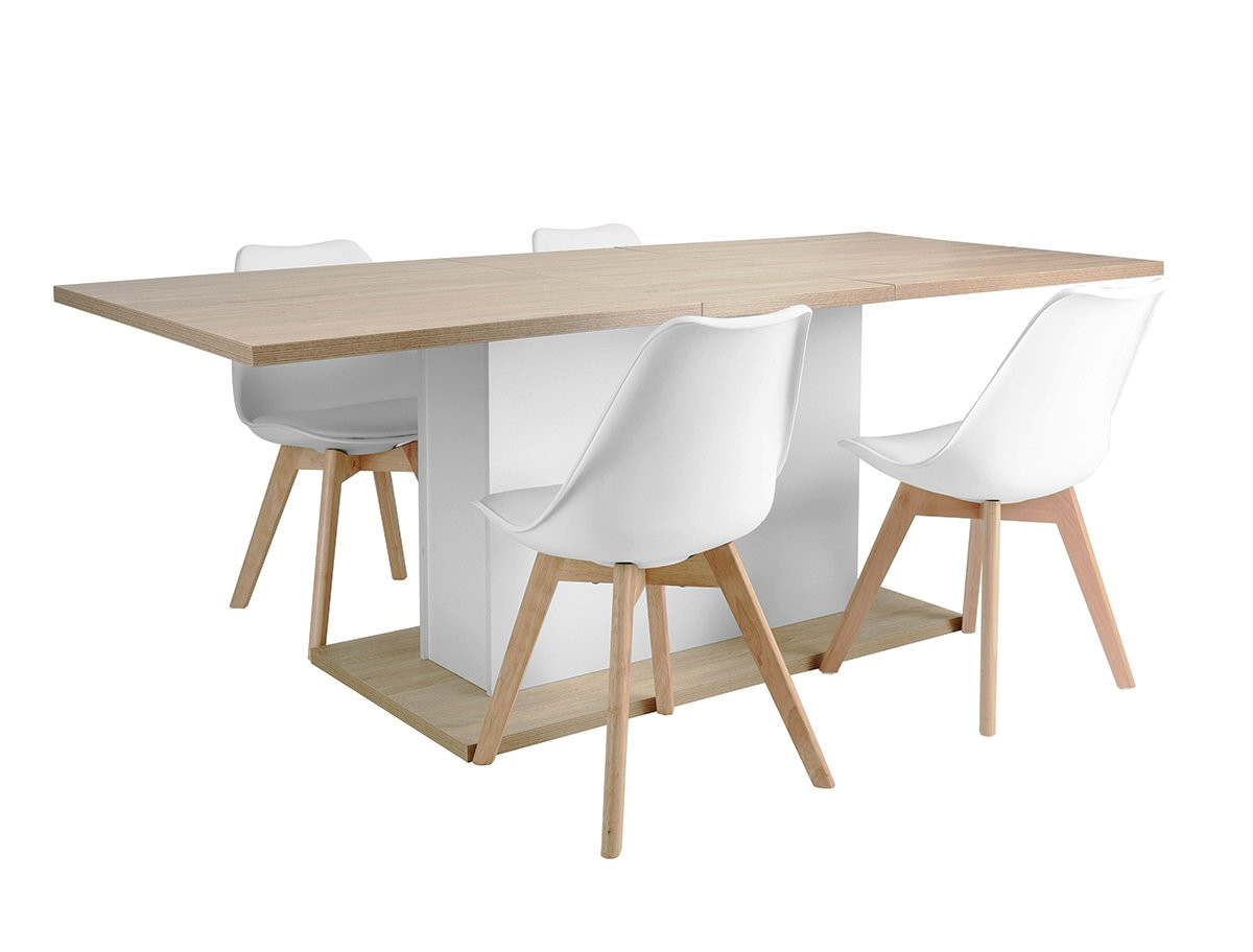 scandinavian dining set extension table 160 205cm with storage function and set of 4 white plastic chairs amazon co uk kitchen home