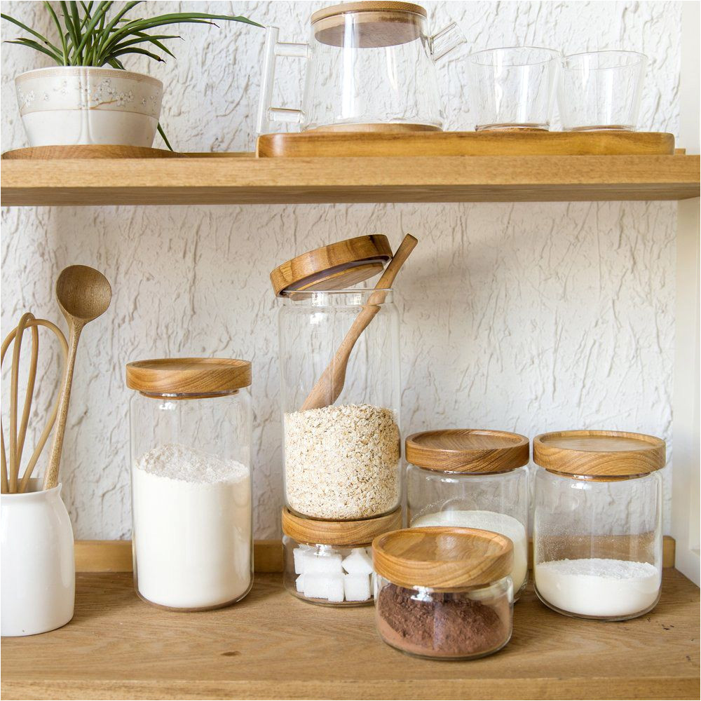 japan zakka style glass spice jar kitchen canisters cookie jars wooden lid 3 pieces spices storage