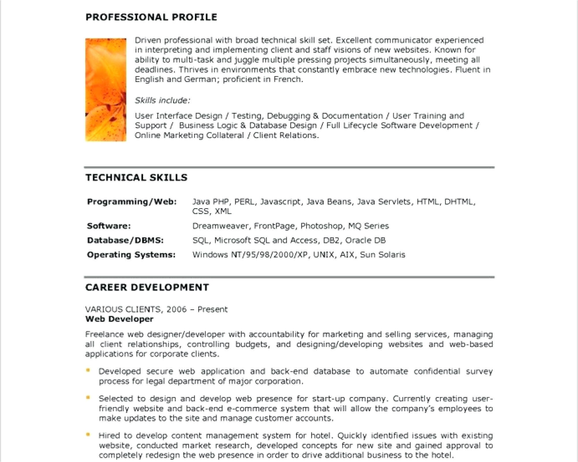 resume web developer resume sample
