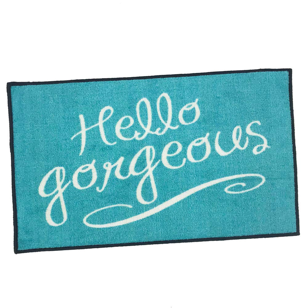amazon com hello gorgeous welcome door mat teal 2x3 garden outdoor