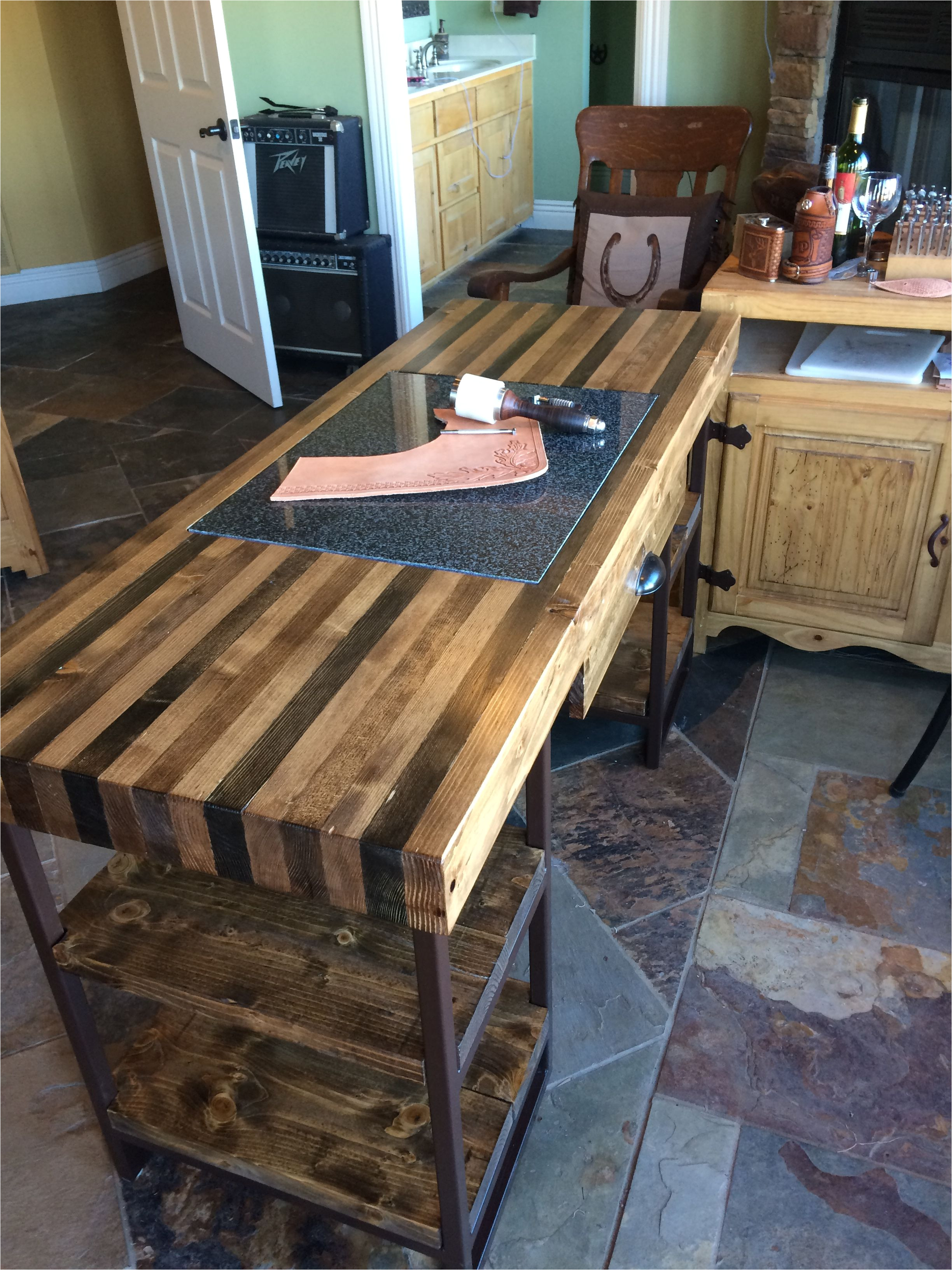 homemade butcher block and granite