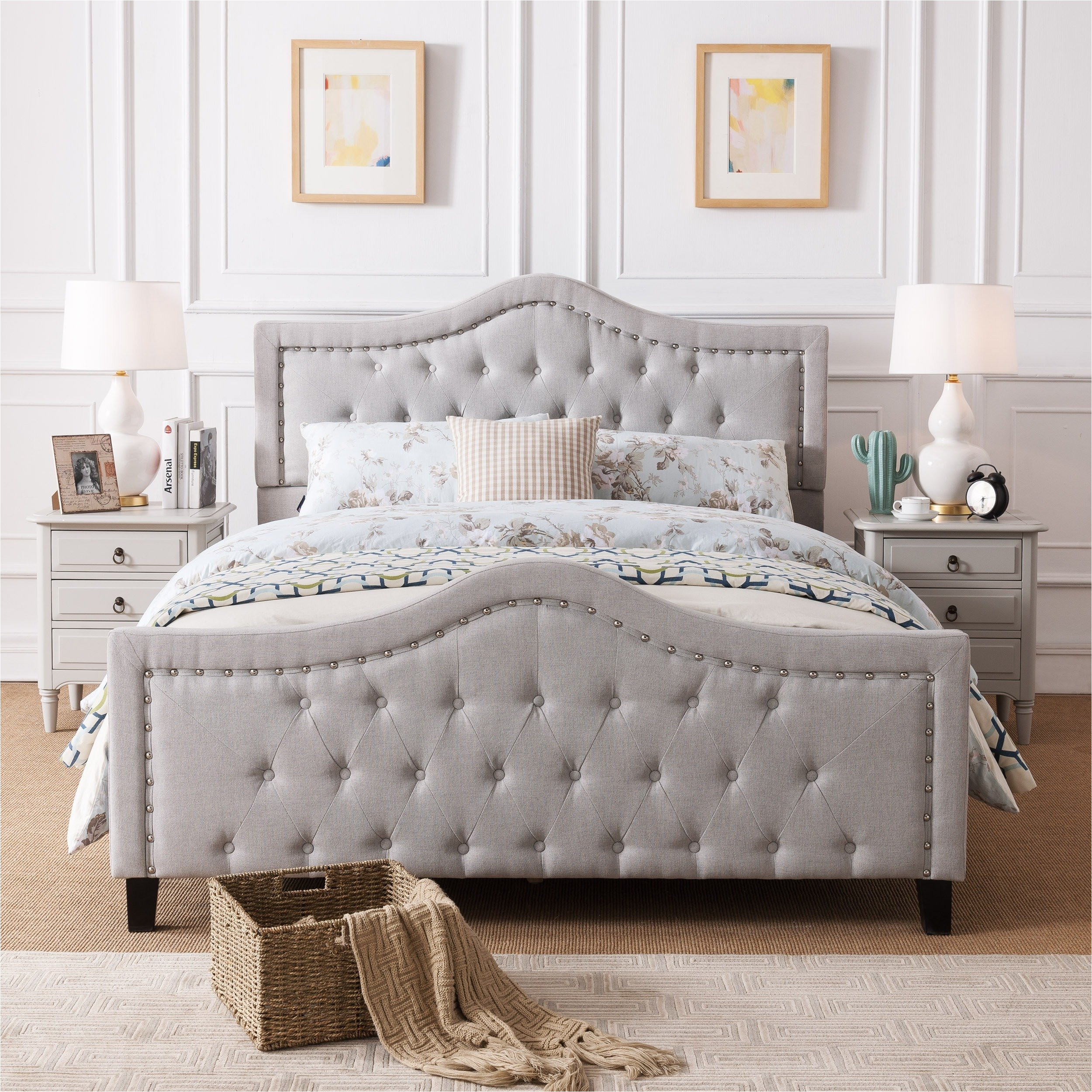 shop virgil upholstered tufted fabric queen bed set by christopher knight home free shipping today overstock com 14047250